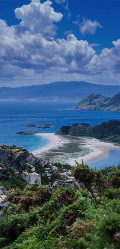 Cies Islands, Pontevedra, Spain (Photographer: Santiago M.C.) The Islas Cies have been cited among the world's 10 best beaches, with pristine white sands lapped by calm waters of Caribbean turquoise, against a pine forest backdrop.