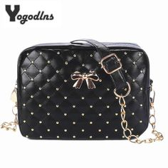2995a6bbf3 2017 Summer Fashion Women Messenger Bags Rivet Chain Shoulder Bag PU  Leather Crossbody Quiled Crown bags