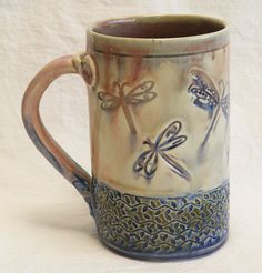 ceramic dragonfly coffee mug 16oz  stoneware 16A064 by desertNOVA, $22.00