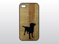 Black Lab iPhone Case - Labrador Retriever iPhone - Dog Silhouette on Burlap - Dog Lover Gift