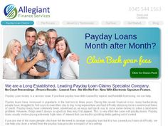 Allegiant Finance Services is a market leader in mis sold payday loan claims against lennders such as Wonga.Com, QuickQuid.co.uk and PaydayUK.co.uk. True No Win, No Fee. Lowest Cost. Why Pay More? http://www.paydayloanclaims.net