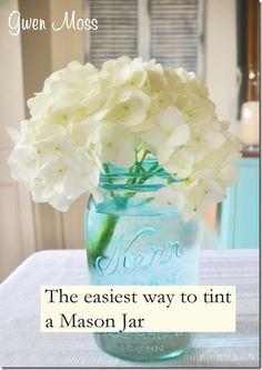 Gwen Moss: my DIY blue mason jars Diy Projects Using Mason Jars, Mason Jar Crafts, Mason Jar Diy, Tinted Mason Jars, Blue Mason Jars, Diy Wedding, Wedding Ideas, Wedding Stuff, Dream Wedding