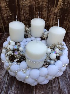 Pin by Koape on Happy Candle Centerpieces For Home, Christmas Candle Decorations, Advent Candles, Christmas Candle Holders, Christmas Candles, Christmas Holidays, Christmas Crafts, Christmas Ornaments, Xmas Wreaths