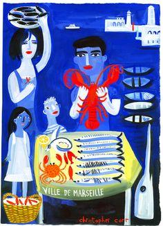 """peinture UK : Christopher Corr, """"ville de Marseille"""", marché aux poissons, nourriture, bleu"""
