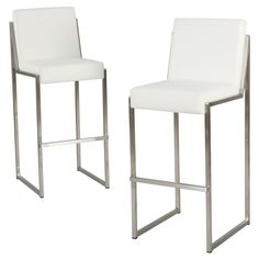 Vasilus 29.5 Bonded Leather Barstool - White (Set of 2) - Christopher Knight Home