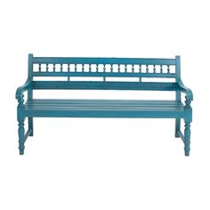 Mahogany wood bench with turned details and a turquoise finish.   Product: BenchConstruction Material: Mahogany ...