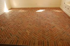 Floor Design, : Impressive Brown Thin Brick Tile Flooring Design For Living Room Areas