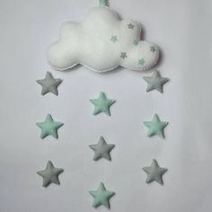 ****** Last Order date for Christmas Delivery ******** ******* UK - 13th December ********** ****Rest of the world 1st December***** This is a beautiful handmade felt mobile and features a Large fluffy cloud with 9 coloured felt stars a perfect addition to any nursery. Every item