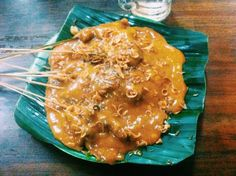 Satay Padang - Indonesia food, barbeque with a traditional sauce from Padang, it taste so unique and full of spices, so delicious :) come to Indonesia and try it ;)