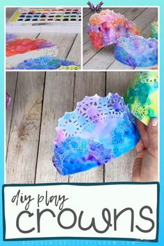 DIY Play Crowns These DIY crowns come together easily with doilies and watercolors and are sure to inspire hours of creative play! #crown #pretend play #princesscraft<br> Make these colorful painted crowns perfect for any celebration or play date. All you need are doilies and watercolors for these DIY paper crowns. Fun Crafts, Diy And Crafts, Arts And Crafts, Stick Crafts, Kids Beach Crafts, Borax Crafts, Crafts For Babies, Kids Craft Projects, Teen Summer Crafts