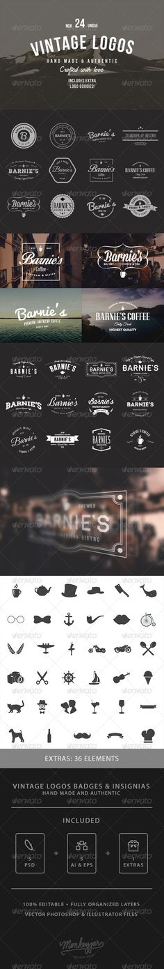 24 Old-School Logos & Badges Template | Buy and Download: http://graphicriver.net/item/24-oldschool-logos-badges/8470313?WT.ac=category_thumb&WT.z_author=Monkeyjar&ref=ksioks
