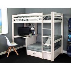 Futon bunk bed - Thuka Hit High Sleeper Bed with Desk & Chairbed Cute Bedroom Ideas, Cute Room Decor, Room Ideas Bedroom, Bedroom Decor, Loft Bed Room Ideas, Bedroom Furniture, Room Design Bedroom, Girl Bedroom Designs, Small Room Bedroom