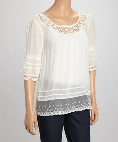 Look what I found on #zulily! White Embroidered Boatneck Peasant Top #zulilyfinds