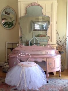 SOLD~Pretty in Pink Elegant Antique Princess Vanity & Stool~French Country~Shabby Chic~Farmhouse~Burlesque~Make-Up Table~Vanity Desk SOLD~Pretty in Pi. Shabby Chic Style, Shabby Chic Mode, Shabby Chic Vanity, Shabby Chic Bedrooms, Vintage Vanity, Vintage Shabby Chic, Shabby Chic Furniture, Shabby Chic Decor, Antique Vanity