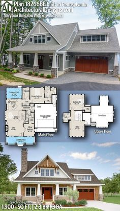 Plan Storybook Bungalow With Screened Porch Architectural Designs Storybook Craftsman House Plan client-built in Pennsylvania! Craftsman Bungalow House Plans, Craftsman Style Homes, Cottage House Plans, Craftsman Bungalows, New House Plans, Dream House Plans, Small House Plans, Cottage Homes, House Floor Plans