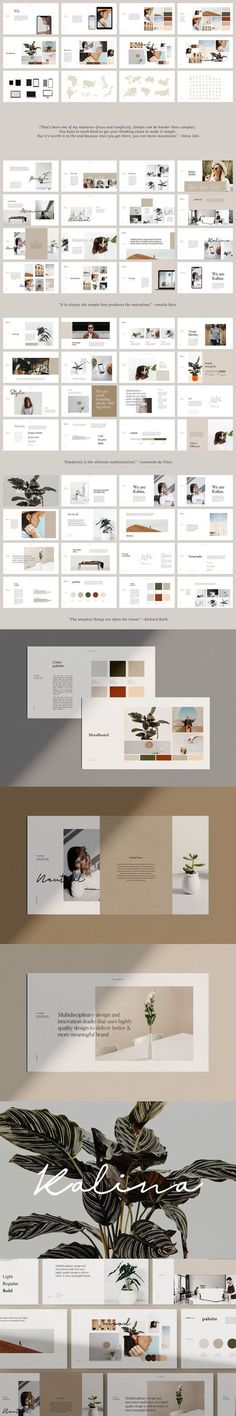 KALINA - Powerpoint Brand Guidelines Brand Presentation, Presentation Templates, Brand Guidelines Template, Ppt Template, License Photo, Mood And Tone, Media Kit, Neutral Colour Palette, Social Media Design