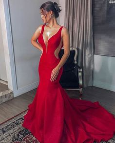 Charming V neck Red Mermaid Evening Dress, Formal Dress Mermaid Evening Dresses, Formal Evening Dresses, Prom Dresses, Dress Formal, Dress Prom, Dress For You, Beautiful Dresses, Marie, Party Dress