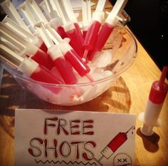 This variation on jello shots will guarantee your friends drink up (and maybe give blood later?) Just fill each syringe with jello, before it's firmed up, and put in the fridge.