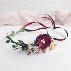 Flower crown for baby girl made with burgundy,peach flowers, babys breath, leafs, stems. Due to the flexible design of wreath individually adapts to the shape of the head. Length 29 cm / 11.4 inches. For child 1-6 years old. All of my crowns and pieces are made with love, magic and care.