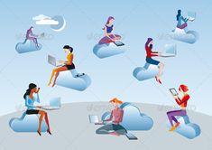 Cloud Computing Girls Sitting In Clouds