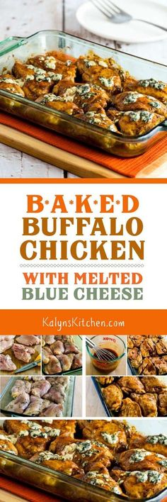Baked Buffalo Chicken with Melted Blue Cheese is a delicious dinner ...