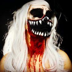 Demon Bloody Skull Halloween Makeup by Erica Gamby