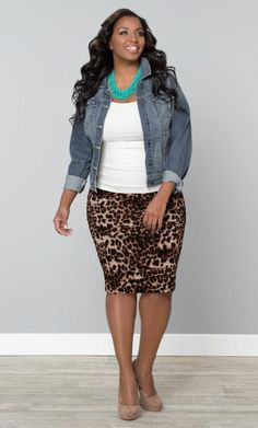 """chambray shirt, white camisole. leopard skirt. nude heels  #thick    #curvy    """"if you like my curvy girl's fall/winter closet, make sure to check out my curvy girl's spring/summer closet.""""   http://pinterest.com/blessedmommyd/curvy-girls-springsummer-closet/pins/"""