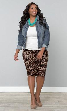 Denims jacket, white tee, leopard skirt
