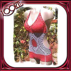 "Custom Crochet ""WIDE SIDES"" Halle Style Top Monokini Swimsuit Bikini with Boyshorts Rear - Made To Order with Cotton/Lycra Crochet Thread"