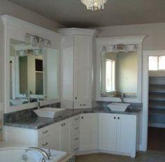 Custom Master Bathroom, with double corner vanity, tower ... on Corner Sconce Shelf Cabinet id=68295