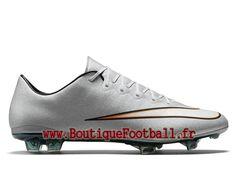 los angeles 333df f3fe5 Nike Mercurial Vapor X FG CR7 Chaussure de football pour terrain sec pour  Homme Argent Silver Turquoise 684860-003