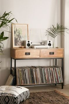 Casper Industrial Wooden Console - Urban Outfitters #VintageIndustrialFurniture
