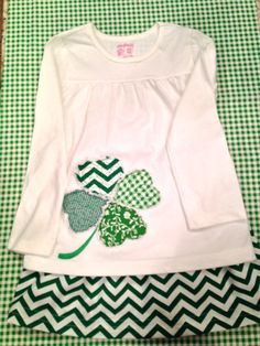 St. Patrick's Day T Shirt. Appliqued. Personalized. Raggy Quilted Shamrock.