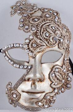 Venice Masquerade Masks - Volto Macrame Luna Silver