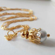 White Bridesmaid Jewelry White Pearl Pendant by FiveLittleGems, $14.00