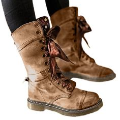 Women's Studded Vintage Lace-Up Martin Shoes Reversible Cross-tied Mid-Calf Tactical Boots Khaki) Low Heel Shoes, Lace Up Shoes, Shoes Heels, Riding Boots, Combat Boots, Shoe Goo, Stylish Winter Boots, Martin Shoes, Mid Calf Boots