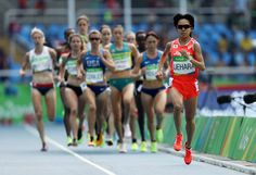 Miyuki Uehara of Japan leads the pack during the Women's 5000m Round 1 - Heat 1 on Day 11 of the Rio 2016 Olympic Games at the Olympic Stadium on August 16, 2016 in Rio de Janeiro, Brazil.
