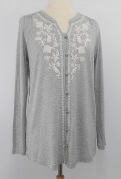 a292880e24d Jill Top Size M Tall Gray Button Down Long Sleeve Soutache Embroidered  Floral
