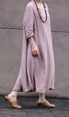 Pink women dress Cotton Linen women dress Long by fashiondress6, $85.00