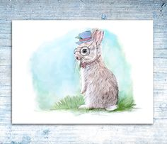 Printable Nursery Art  Mr Rabbit by SixDaysCreations on Etsy