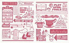 Never ones to waste time inefficiently, we illustrated six spreads for Innocent's new recipe book,'Hungry'. They will keep you busy in-between marinating, proving or rising when you have 5, 10, 15, 30 or 60 minutes to spare.