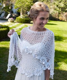 Bridal Shawl Free Crochet Pattern from Red Heart Yarns