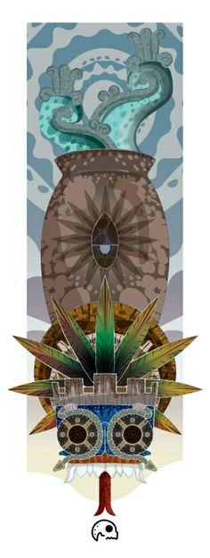 Tlaloque by INKjerter , via Behance Maya, Funky Art, Aztec Designs, Nativity, Bookmark Ideas, Projects To Try, Artsy, Behance, Clock