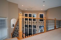 Maple stairs Traditional Staircase, Iron Balusters, Cribs, Hardwood, Stairs, Bed, Furniture, Home Decor, Cots