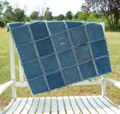 Denim Quilt Repurposed 100% Cotton Embroidered by oldfarmhands