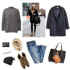 Oversized coat, jeans, ankle boots, infinity scarf, beany, black tote, grey cashmere crewneck sweater