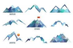 triangle, rock, isolated, hill, vector, sign, simple, gray, shape, label, top, symbol, element, logo, origami