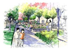 Foto de stock : Landscape garden sketch series 09