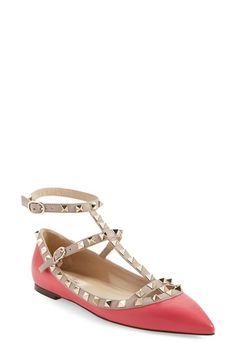 Valentino 'Rockstud' T-Strap Flat available at #Nordstrom