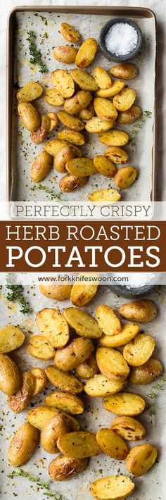 Crispy Herb Roasted Potatoes | Fork Knife Swoon @forkknifeswoon
